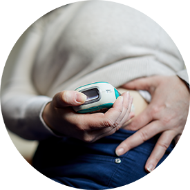 Person using connected medical device for diabetes