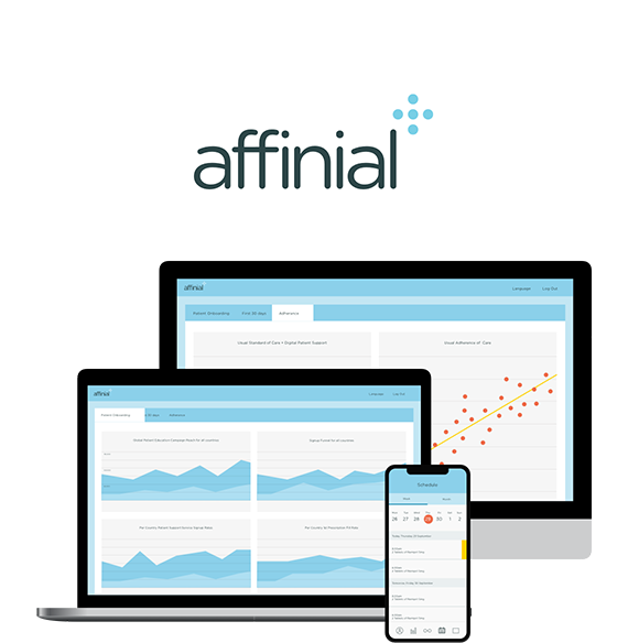 Affinial logo, smartphone and laptop showing patient data and real world evidence insights