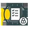 Checklist and lock logo - reduce risk of medical regulation